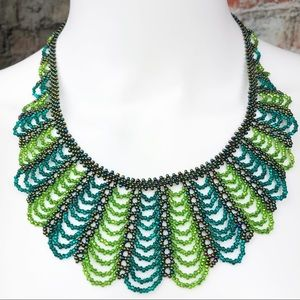 Seed Bead Tiered Bib Necklace